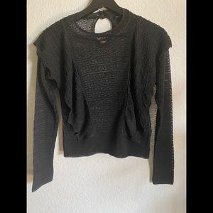 Zara Black Lave Ruffle Front Long Sleeve Top